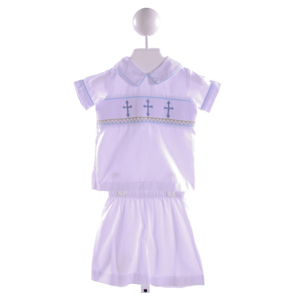 STELLYBELLY  WHITE   SMOCKED 2-PIECE OUTFIT