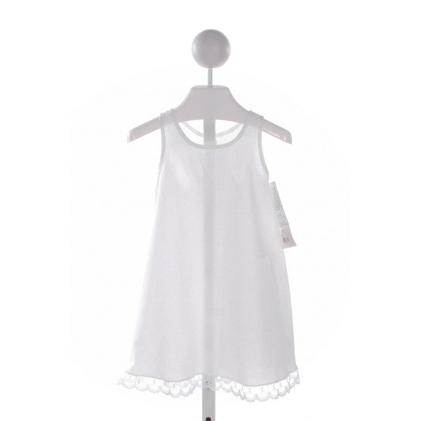 STRASBURG  WHITE    SLIP DRESS WITH LACE TRIM