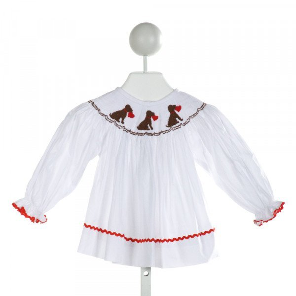 SMOCKINGBIRD  WHITE   SMOCKED DRESS WITH RIC RAC