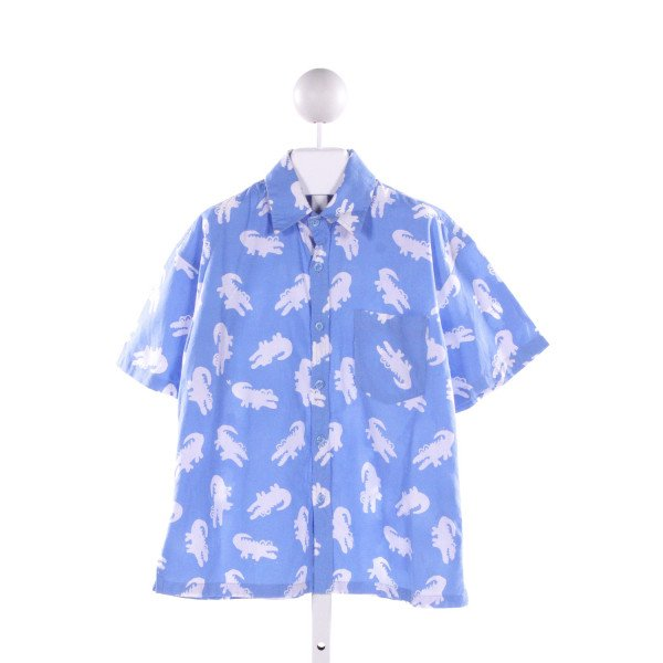 THREE ISLANDS  LT BLUE   PRINTED DESIGN CLOTH SS SHIRT