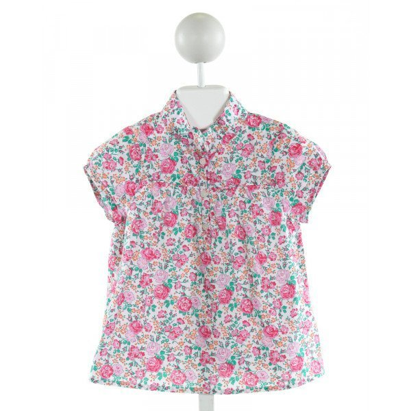 JACADI  WHITE  FLORAL  CLOTH SS SHIRT