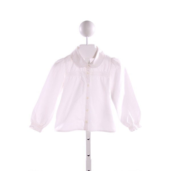 GAP  WHITE   SMOCKED CLOTH LS SHIRT WITH RUFFLE