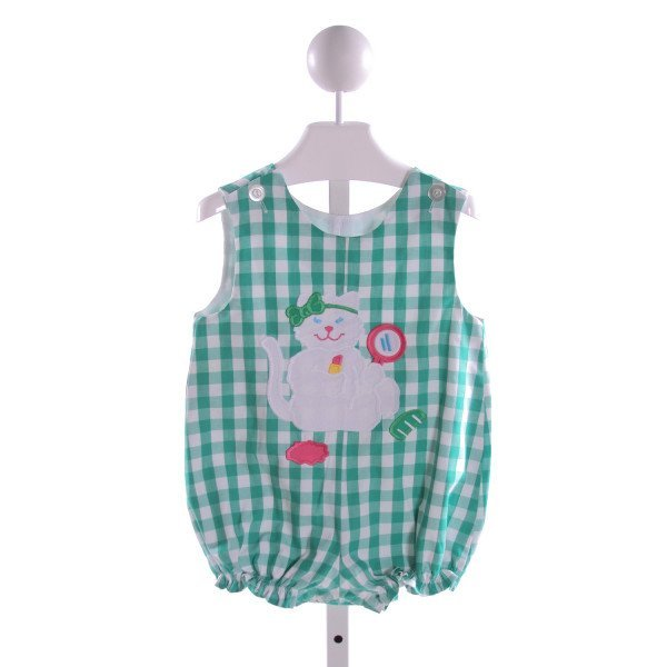 KELLY'S KIDS  GREEN  GINGHAM EMBROIDERED BUBBLE WITH RUFFLE