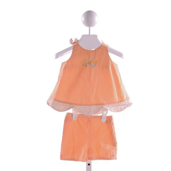 PATSY AIKEN  ORANGE  GINGHAM EMBROIDERED 2-PIECE OUTFIT