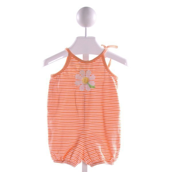 CHEZ AMI  ORANGE  STRIPED EMBROIDERED KNIT ROMPER