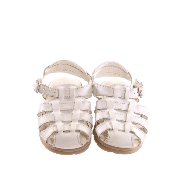 STRIDE RITE WHITE LEATHER SANDALS *SIZE 6, VGU - MINOR DISCOLORATION