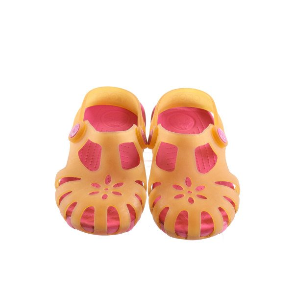 PINK AND YELLOW CROCS *SIZE 13, VGU - DISCOLORATION AND WEAR