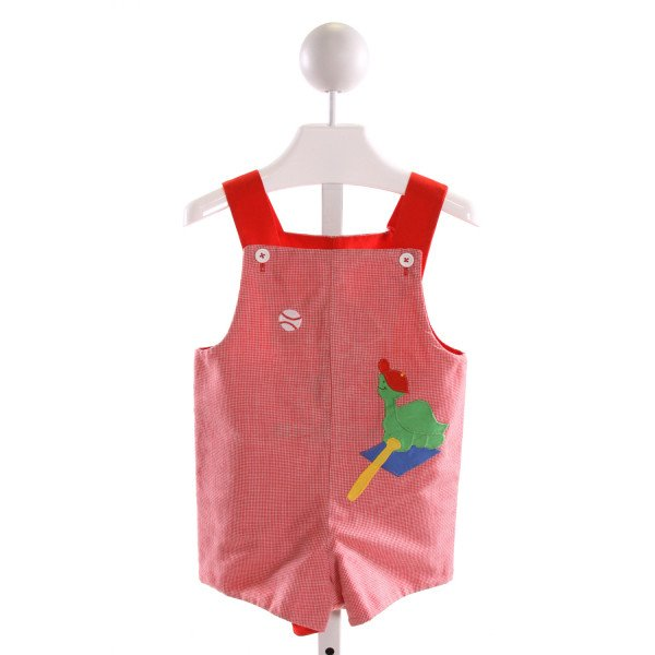 JUST DUCKY  RED  MICROCHECK EMBROIDERED JOHN JOHN/ SHORTALL
