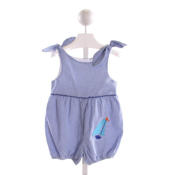 KELLY'S KIDS  BLUE SEERSUCKER  EMBROIDERED ROMPER