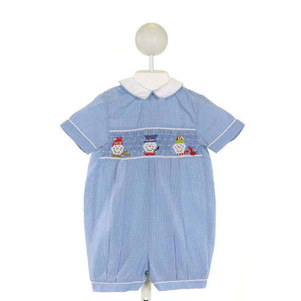 ORIENT EXPRESSED  BLUE  WINDOWPANE SMOCKED JOHN JOHN/ SHORTALL