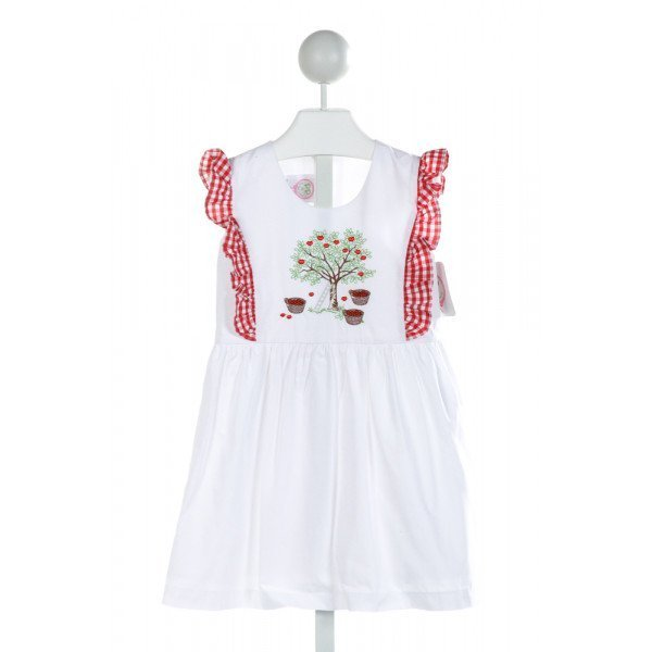 POSH PICKLE  OFF-WHITE   EMBROIDERED DRESS WITH RUFFLE