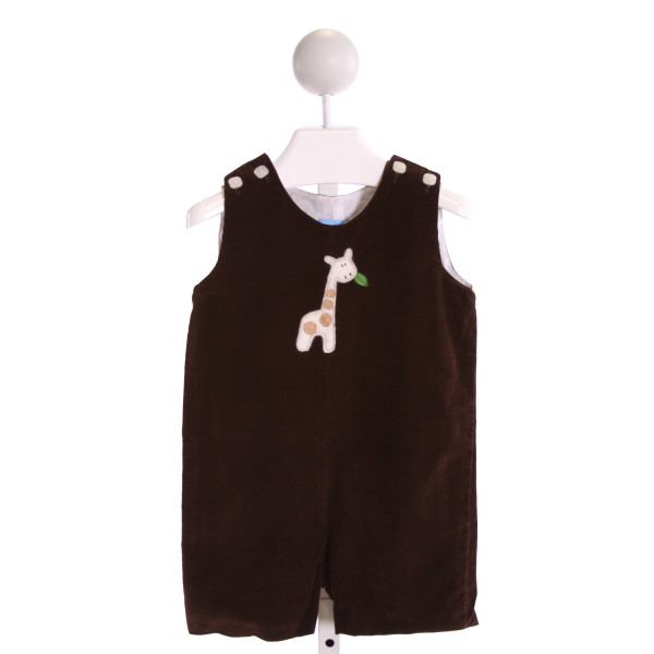 PETIT FRERE  BROWN CORDUROY  EMBROIDERED JOHN JOHN/ SHORTALL