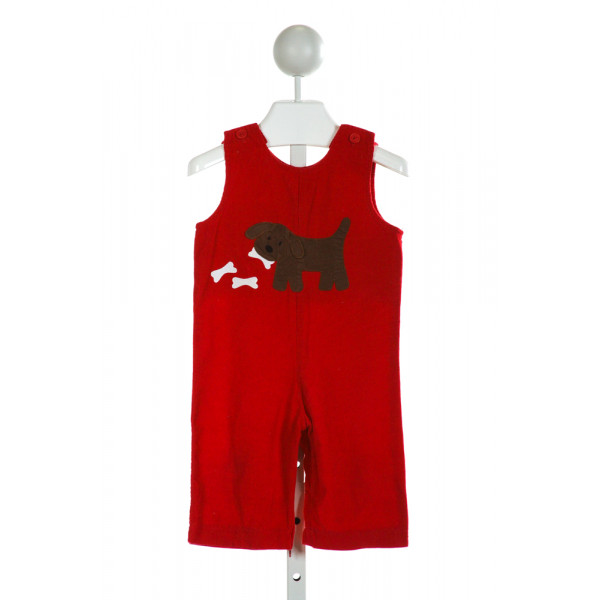 FUNTASIA TOO  RED CORDUROY  EMBROIDERED LONGALL/ROMPER