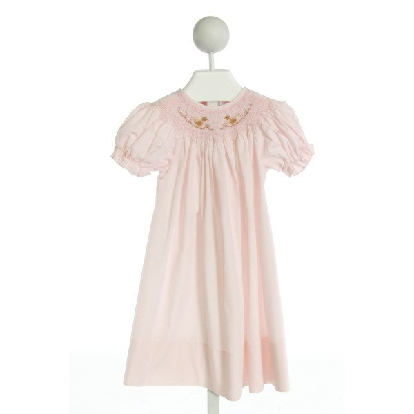 SWEET ANGELA  PINK   SMOCKED DRESS WITH RUFFLE