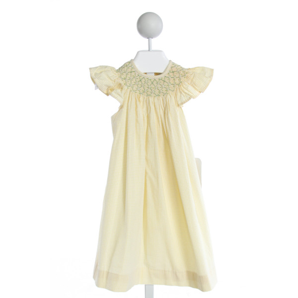 REMEMBER NGUYEN  YELLOW SEERSUCKER GINGHAM SMOCKED DRESS WITH RUFFLE