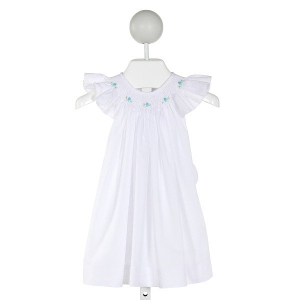SOPHIE DESS  WHITE   SMOCKED DRESS WITH RUFFLE