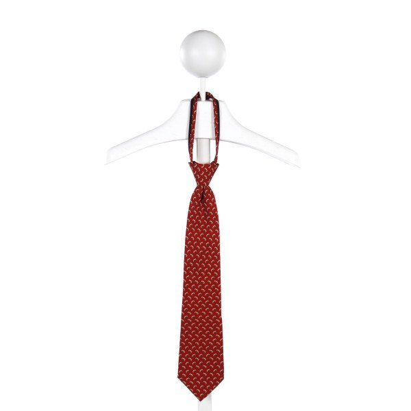 J. KHAKI RED FOOTBALL PATTERNED ZIPPER TIE *ONE SIZE FITS SIZES 2-7