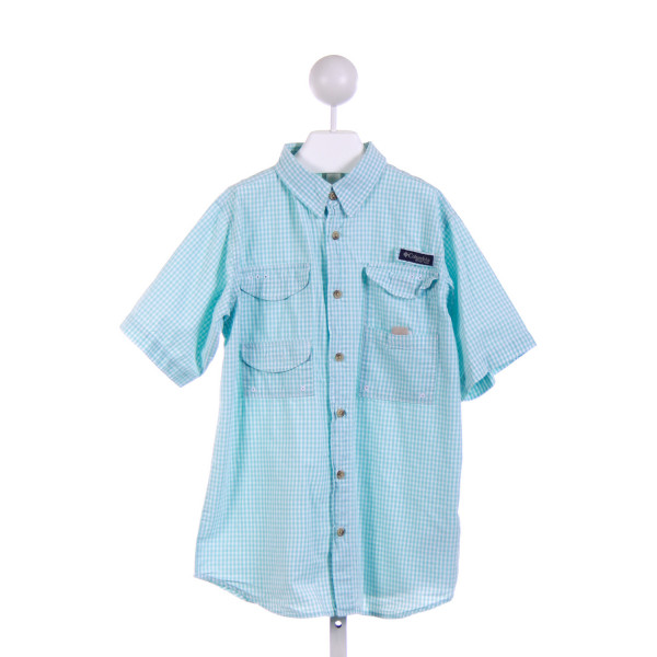 COLUMBIA  MINT  GINGHAM  CLOTH SS SHIRT
