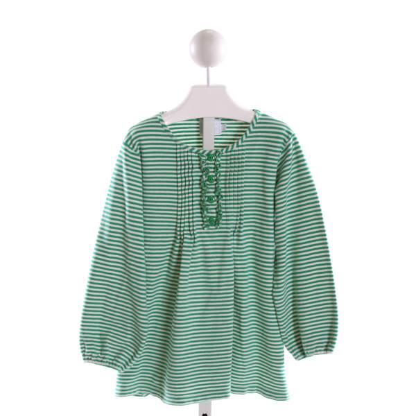 LITTLE ENGLISH  GREEN  STRIPED  KNIT LS SHIRT WITH RUFFLE