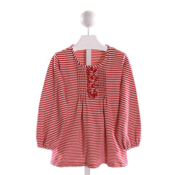 LITTLE ENGLISH  RED  STRIPED  KNIT LS SHIRT WITH RUFFLE