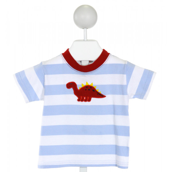 LUIGI  LT BLUE  STRIPED EMBROIDERED T-SHIRT