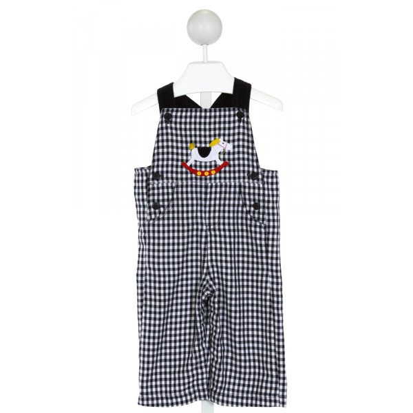 FLORENCE EISEMAN  NAVY  GINGHAM EMBROIDERED LONGALL/ROMPER