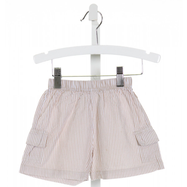 LUIGI  BROWN SEERSUCKER STRIPED  SHORTS