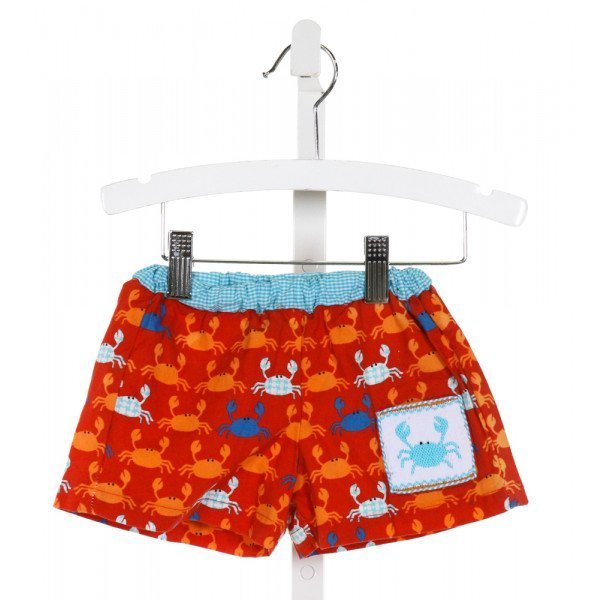 CUKEES  RED  PRINT SMOCKED SWIM TRUNKS