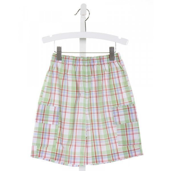COTTON BLU LT GREEN  PLAID  SHORTS