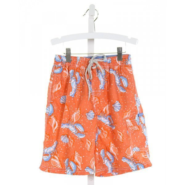 E-LAND  ORANGE   PRINTED DESIGN SWIM TRUNKS