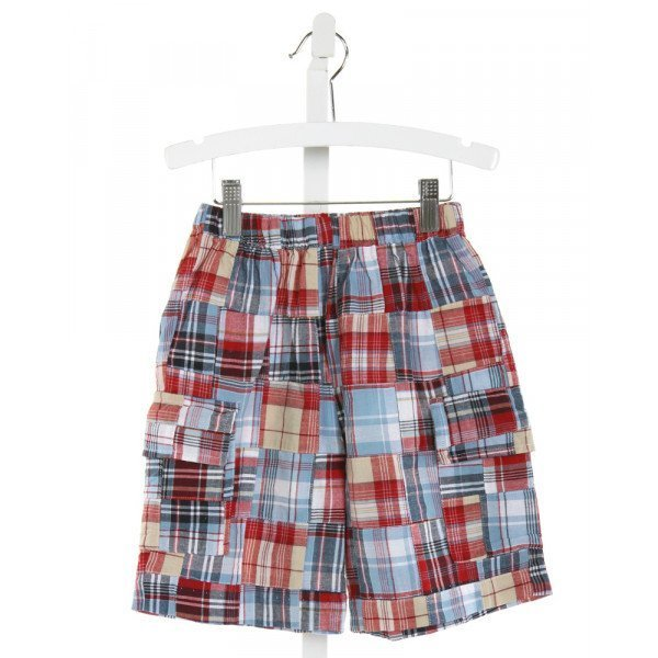COTTON BLU  RED  PLAID  SHORTS