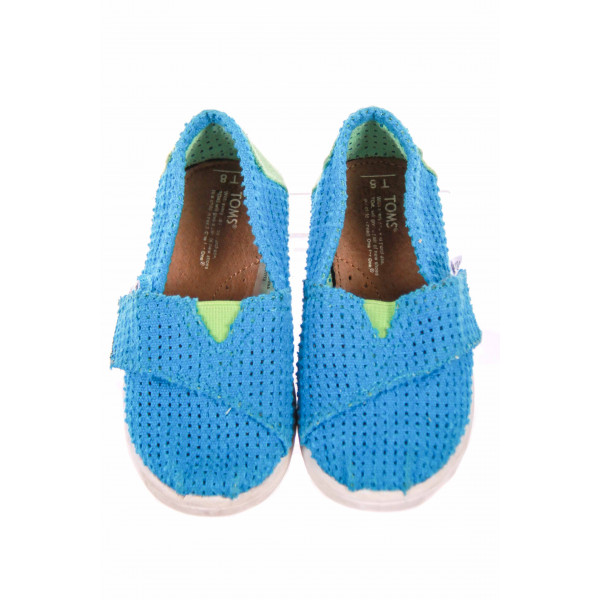 TOMS BLUE AND GREEN SHOE WITH VELCRO STRAP SIZE 8 *VGU
