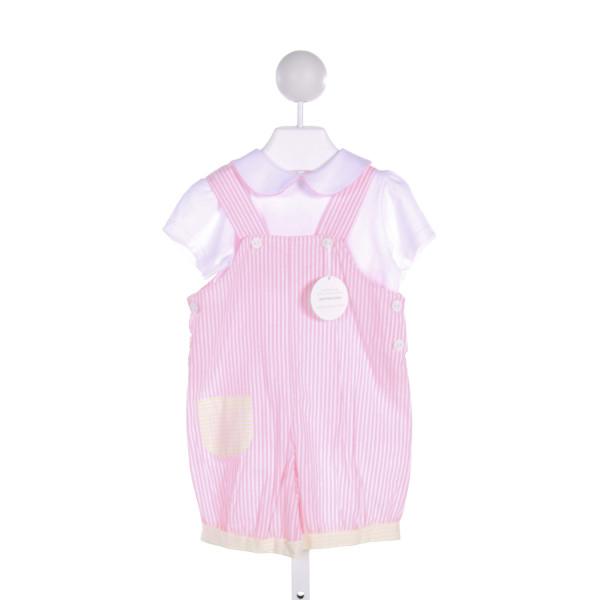 DONDOLO  MULTI-COLOR  STRIPED  ROMPER WITH PICOT STITCHING