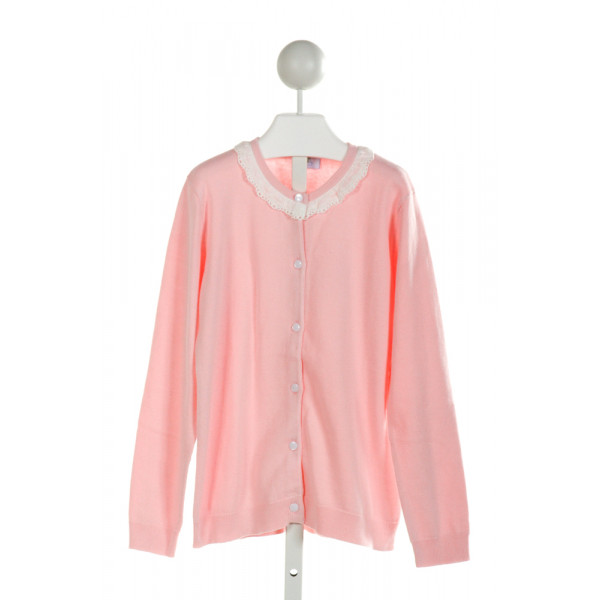 EYELET & IVY  PINK    CARDIGAN WITH EYELET TRIM