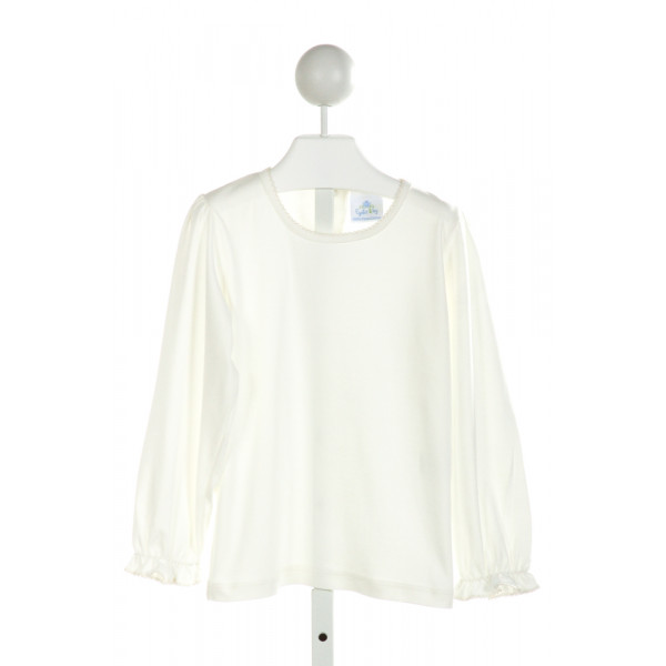 EYELET & IVY  IVORY    KNIT LS SHIRT WITH PICOT STITCHING