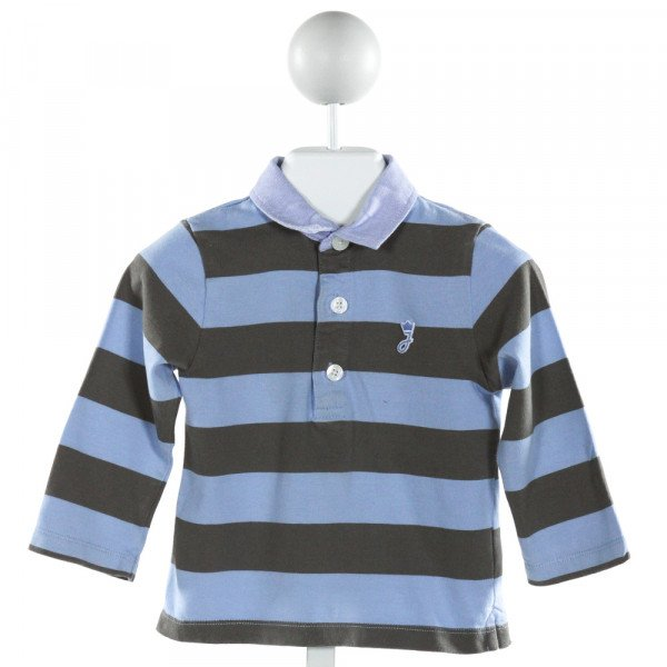 JACADI  LT BLUE  STRIPED  KNIT LS SHIRT