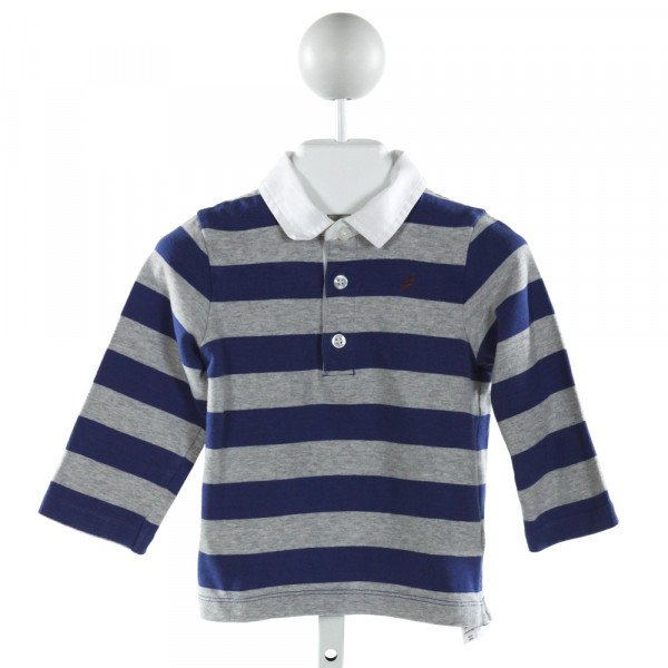 JACADI  GRAY  STRIPED  KNIT LS SHIRT