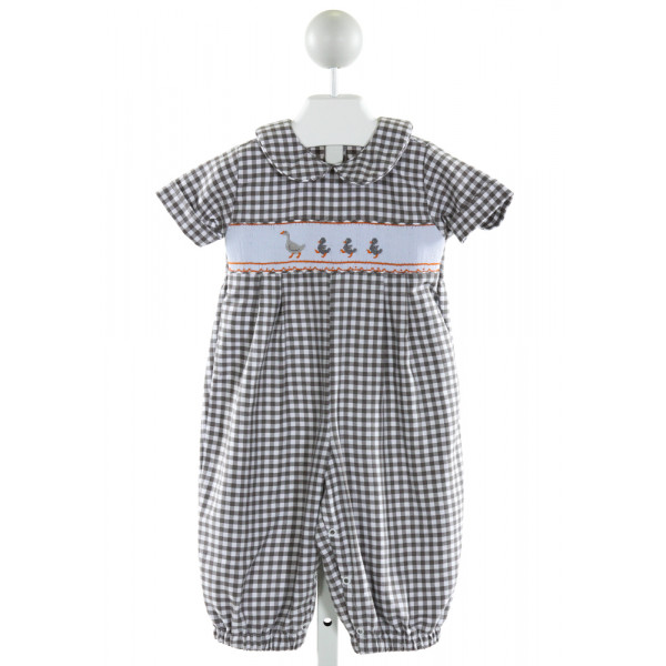 THE SMOCKLING  GRAY  GINGHAM SMOCKED LONGALL/ROMPER