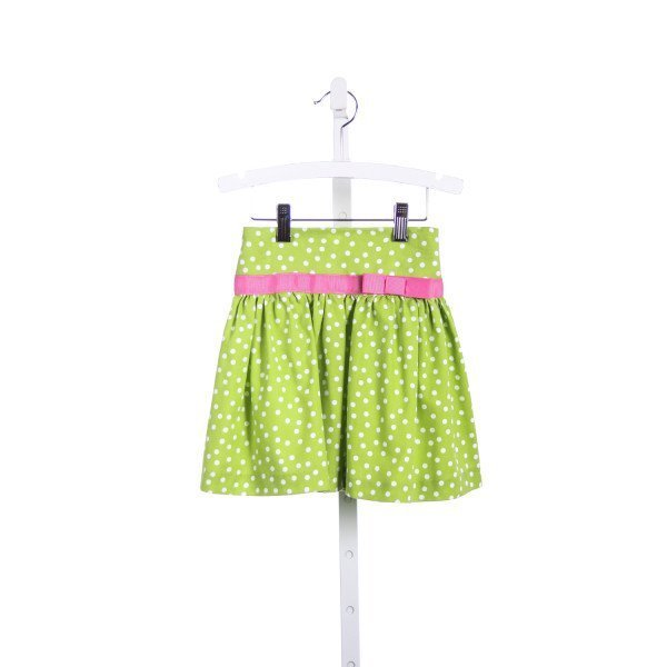 SIMI GREEN AND WHITE POLKA DOT SKIRT WITH HOT PINK RIBBON TRIM