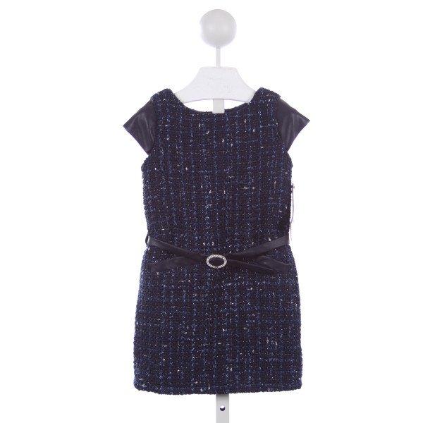 BISCOTTI COLLEZIONI BLUE AND SILVER TWEED DRESS WITH BELT