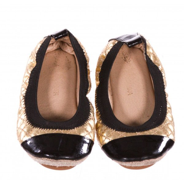YOSI SAMRA GOLD AND BLACK FLATS *SIZE 7, VGU - SLIGHT SCUFFING AND SOME VERY MINOR WEAR