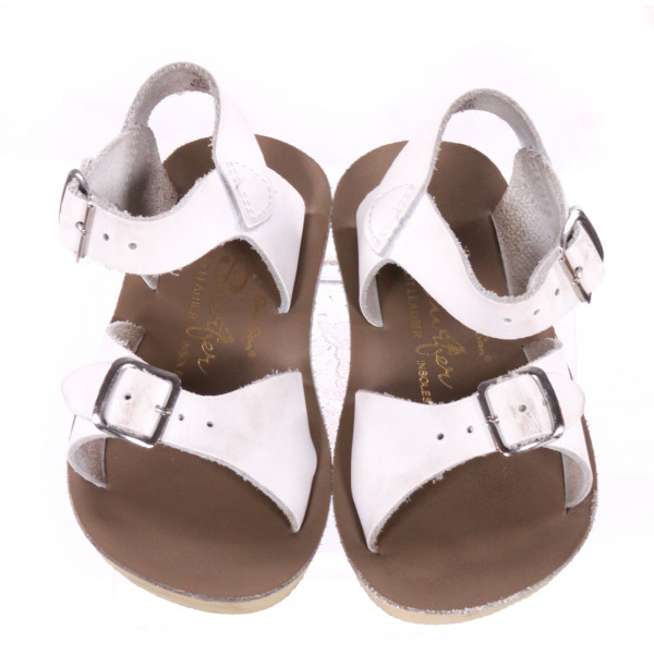 WHITE AND KHAKI SUN SANS/ SALTWATER SANDALS *SIZE 7, VGU - DISCOLORATION AND SOME MINOR WEAR