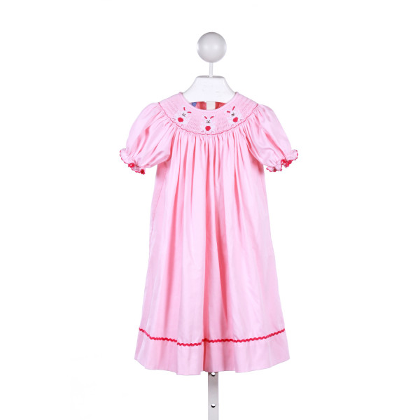 EVERYDAY HEIRLOOM  LT PINK   SMOCKED CASUAL DRESS WITH RIC RAC
