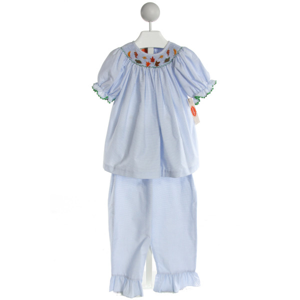 SOUTHERN SUNSHINE KIDS  LT BLUE  GINGHAM SMOCKED 2-PIECE OUTFIT WITH RIC RAC