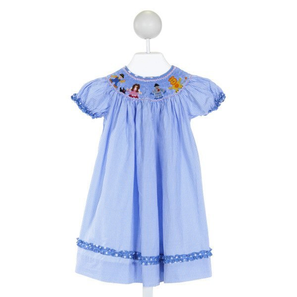 ROYAL CHILD  LT BLUE  GINGHAM SMOCKED DRESS WITH RUFFLE