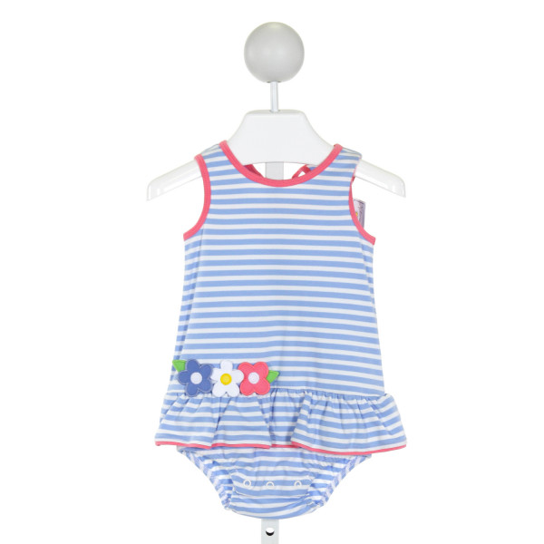 FLORENCE EISEMAN  LT BLUE  STRIPED APPLIQUED BUBBLE WITH RUFFLE
