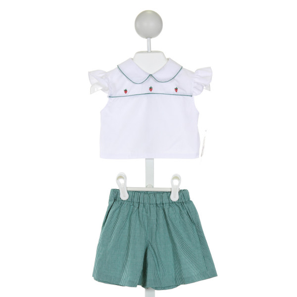 ROSALINA  WHITE   SMOCKED 2-PIECE OUTFIT WITH RUFFLE