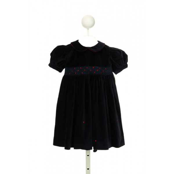 SOPHIE DESS NAVY VELVET SMOCKED DRESS