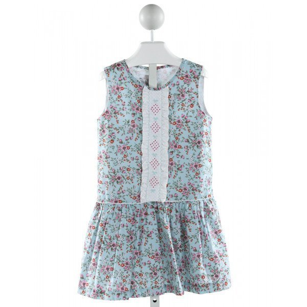 PENNYMEADE  LT BLUE  FLORAL SMOCKED DRESS WITH RUFFLE