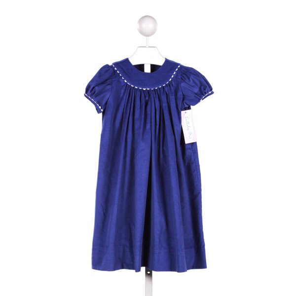 LULLABY SET BLUE CORDUROY DRESS WITH WHITE RIC RAC TRIM